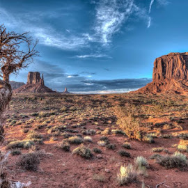 Down by the Mittens at sunset. by Tina Benjamin - Landscapes Deserts