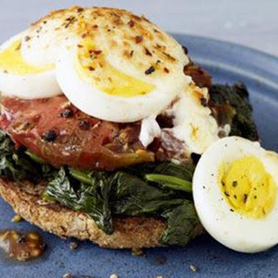 Open-Faced Broiled Egg, Spinach, and Tomato Sandwich
