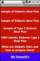 Screenshot of Diabetic Diet Samples