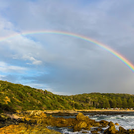 Shelly Rainbow! by Tony Sullivan - Landscapes Weather ( canon, mid north coast, rainbown, australia, weather, beach )
