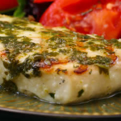 Grilled Halibut with Garlic Cilantro Sauce