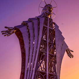 Inima lui Iesus by Martin Vanek - Buildings & Architecture Statues & Monuments ( mountains, statue, sunset, harghita, heart of jesus, romania )