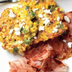 Corn Cakes Topped with Goat Cheese and Bacon