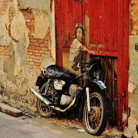 Penang Famous Wall Painting - 4 by Low Leong - Transportation Motorcycles (  )