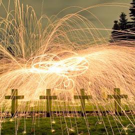 Gallico crossfire 1 by Eddy Maerten - Abstract Fire & Fireworks ( firefighter, firework, night shot )