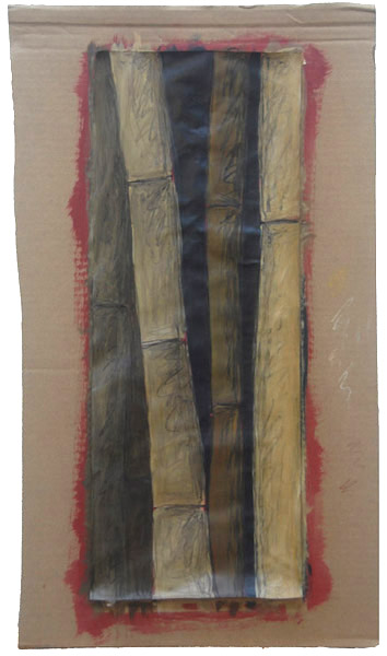Bamboo <br> Watercolor, pastel, charcoal,<br> acrylic paint on paper <br> 27.5 x 16 in