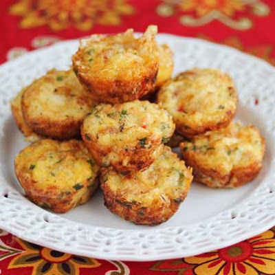 Mini Frittatas with Ham, Vegetables and Cheese