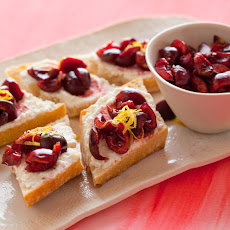 Sweet Cherry, Lemon and Ricotta Crostinis