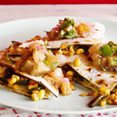 Corn & Poblano Quesadillas with Warm Salsa Verde