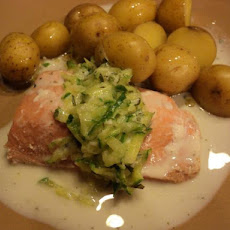 Poached Salmon With Cucumber Sauce