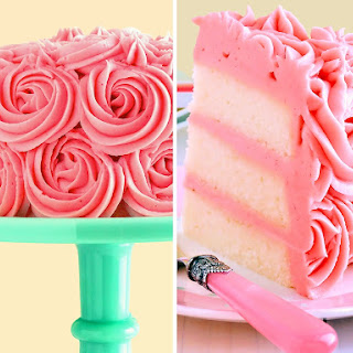 White Velvet Layer Cake with Strawberry-Raspberry Mascarpone Buttercream