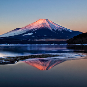 Mt Fuji in the Mirror by Nyoman Sundra - Landscapes Mountains & Hills ( mountain fuji mirror reflection japan sunrise )
