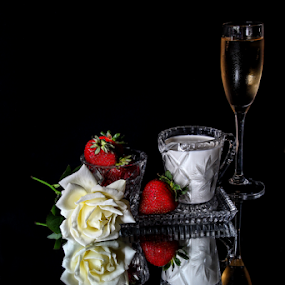 Breakfast In Bed by Bonnie Rovere - Artistic Objects Still Life ( rose, red, champagne, breakfast, strawberries, white, cream )