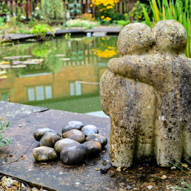 Friends by Freddie Meagher - Buildings & Architecture Homes ( statue, peaceful, friends, scenic, pond, garden )