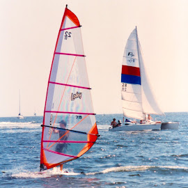 Day on the water by Richard Rabitaille - Sports & Fitness Surfing ( wind surfing sailing ocean boats red blues whites.,  )