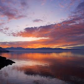 Great Salt Lake Reflection by Jolie Gordon - Landscapes Sunsets & Sunrises ( #sunset )