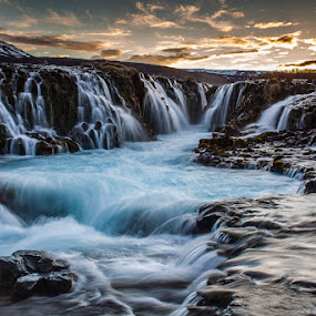 Bruarfoss waterfall by Páll Jökull Pétursson - Landscapes Waterscapes ( orange, iceland, blue, 2014, sunset, waterfall, night, canon eos 5d mkii, landscape, spring, longexposure, river,  )