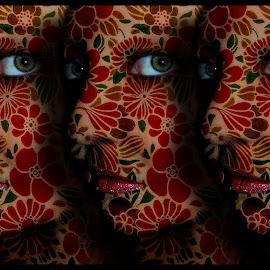 I'm Beside Myself by Elizabeth Burton - Digital Art People ( floral design, green, beautiful, self portrait, bizarre, portrait, eyes, red, woman, lips, dark, green eyes, flowers, nose, black )