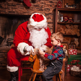 The Gift by Jamie Geese - Public Holidays Christmas ( child, santa, rocking horse, low key, christmas, jamie geese, saint nick, crooked halo photography )