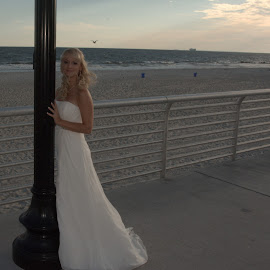 Bride on Lamp Post by Lorraine D.  Heaney - Wedding Bride