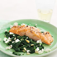 Broiled Salmon with Spinach-and-Feta Saute