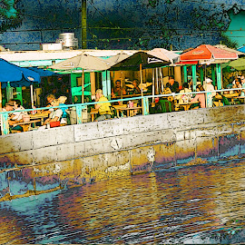 Waterway Cafe by Robin Amaral - Digital Art Places ( abstract, restauraunt, umbrellas, seawall, palm trees, cafe, dining, stylized, canal,  )