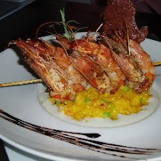 Paella Risotto With Prawn Skewers