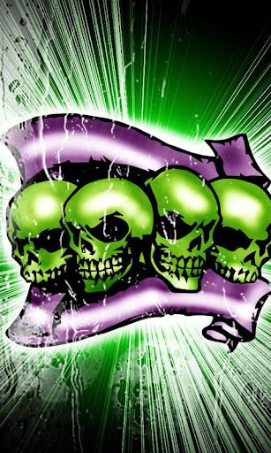 Green Skulls theme 480x800