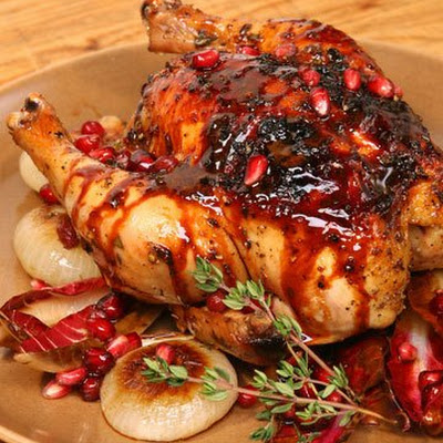 Roasted Pomegranate-Marinated Cornish Game Hens with Cippolini and Treviso