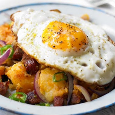Spicy Chorizo Potatoes With Fried Eggs
