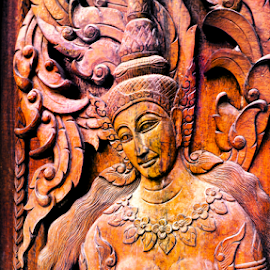 Antique Buddhist Temple Door. by Ian Gledhill - Artistic Objects Antiques ( temple, wood, thailand, carving, buddhist, asia, door, antique, culture,  )