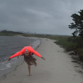 Pink Flamingo by Sarah Graff - Sports & Fitness Other Sports ( dance stretch girl beach summer )