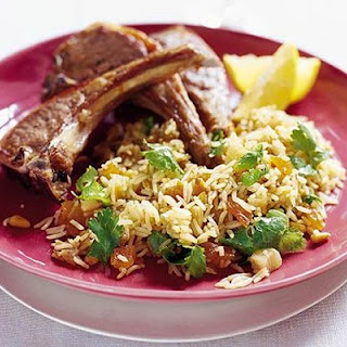 Lamb steaks with Moroccan spiced rice