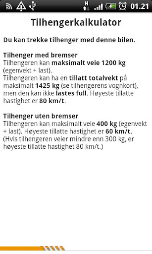 tilhengerkalkulator for android screenshot