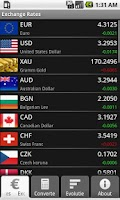 Screenshot of Exchange Rates