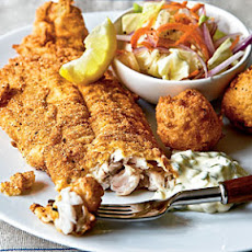 Fried Catfish with Hush Puppies and Tartar Sauce