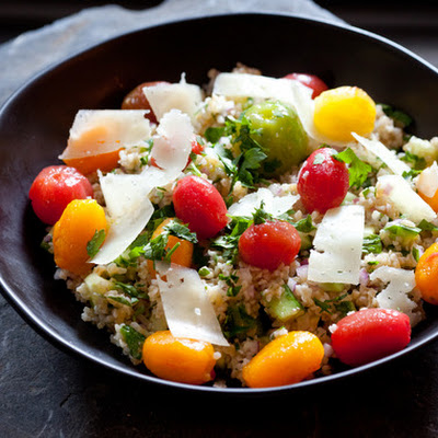 Tabbouleh with Heirloom Cherry Tomatoes, Manchego Cheese & Champagne Vinegar