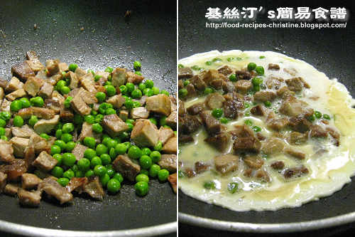 叉燒炒蛋製作圖 Fried Eggs with BBQ Pork Procedures