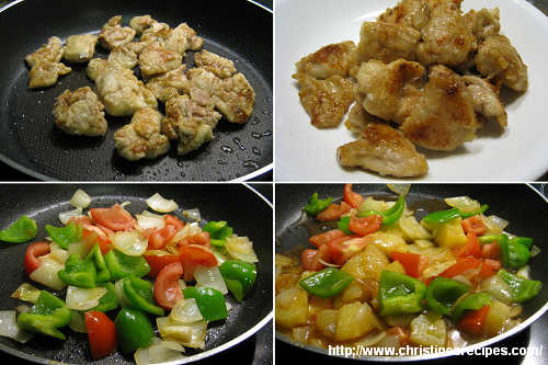 酸甜菠蘿雞塊製作圖 Pan-fried Chicken in Sweet and Sour Sauce Procedures