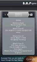 Screenshot of BAP Lyrics