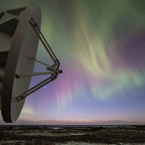 aurora spacedish by Benny Høynes - Landscapes Weather ( northernlights, andøya, aurora, norway )