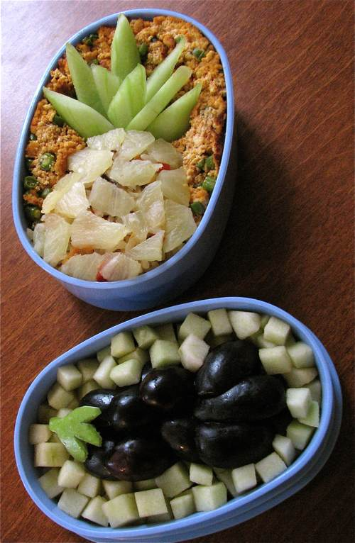 pineapple eggplant design bento