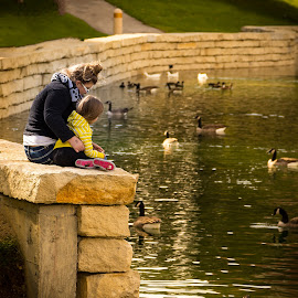 Mother Daughter Time by Darin Mellor - City,  Street & Park  City Parks ( omaha, old market, fall 2014, downtown )