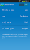 Screenshot of Clarityn's UK pollen forecast
