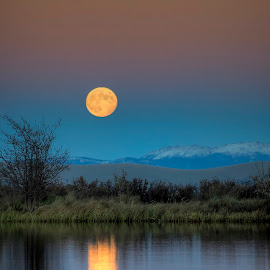 Moon over Colorado by Rob Andzik - Landscapes Waterscapes ( water, mountains, moon, reflection, colorado )