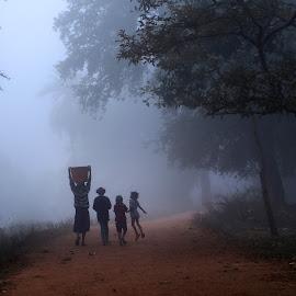 misty morning by Nagaraju Govindu - People Street & Candids ( #araku valley #tribals, #misty, #children,  )
