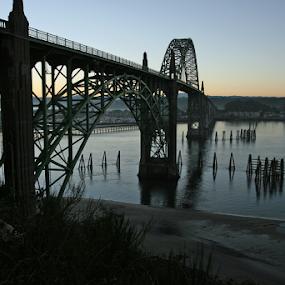 Yaquina Bay Bridge Sunrise by Bill Waterman - Buildings & Architecture Bridges & Suspended Structures ( waterscape, boats, ocean, landscape, bride, river,  )