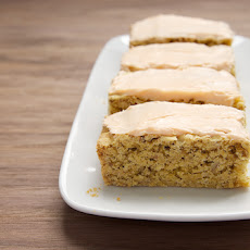 Oatmeal Cookie Bars with Peaches and Crème Frosting