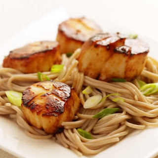 Miso-Glazed Scallops with Soba Noodles