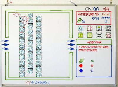 【防衛ゲーム】「Whiteboard Tower Defense」ホワイトボード上で砲台を設置して敵の侵攻を防ぐ